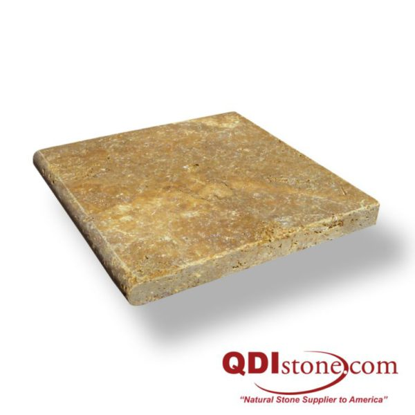 Gold Travertine Pool Coping 12x12 3cm Tumbled Tan Brown Beige Cream Yellow Gold Outdoor Floor Wall Pool Patio Backyard Tub Shower Vanity QDI