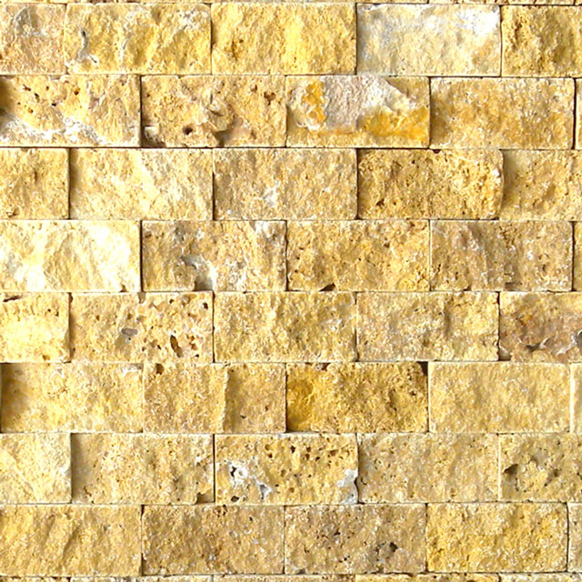 Gold Travertine Split Face Tile Tan Brown Yellow Gold Indoor Outdoor Wall Backsplash Tub Shower Vanity QDIsurfaces