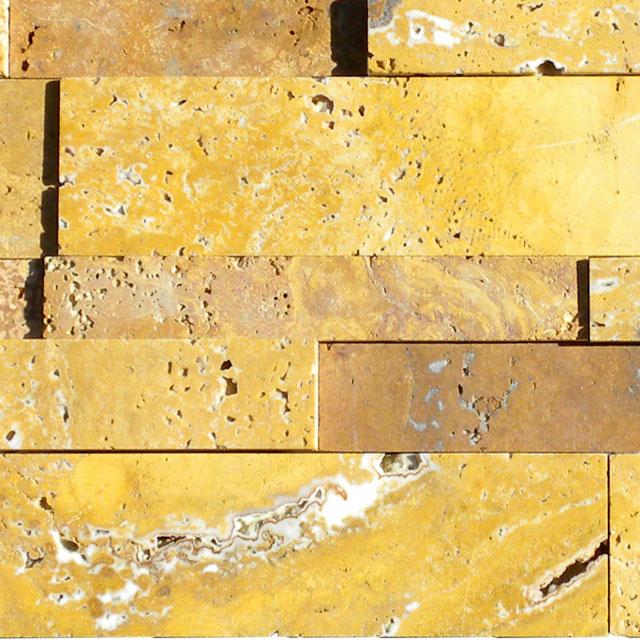 Gold Travertine Stack Stone Wall Cladding Panel Tan Brown Yellow Gold Indoor Outdoor Wall Backsplash Tub Shower Vanity QDIsurfaces