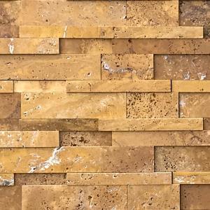 QDI Gold 3-Size Stacked Stone Travertine Honed Mosaic Tile
