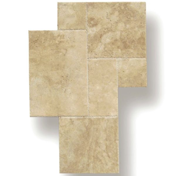 Ivory Beige Travertine Tile Versailles Pattern Unfilled Brushed Chiseled Edge Tan Brown Beige Cream Indoor Wall Backsplash Countertop QDI