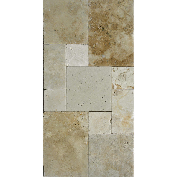 Light Earth Travertine Paver Versailles Pattern Tumbled Beige Cream Brown Tan Outdoor Floor Wall Pool Patio Backyard Tub Shower Vanity QDI