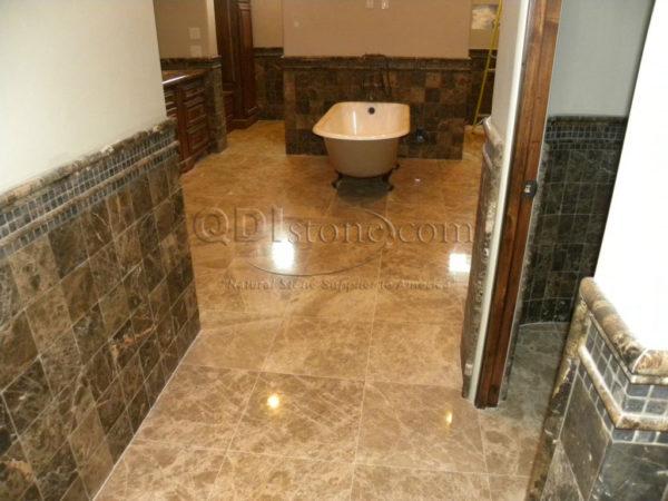 Light Emprador Marble Tile 18x18 Polished 4 Brown Tan Indoor Floor Wall Backsplash Tub Shower Vanity QDIsurfaces