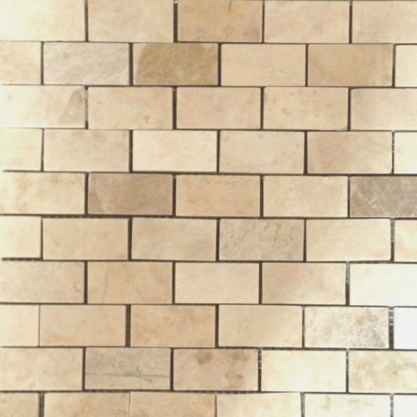 Light Mixed Marble Mosaic Tile 1x2 Polished Beige Cream Tan Brown Indoor Floor Wall Backsplash Tub Shower Vanity QDIsurfaces