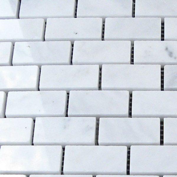 Lusso Carrara Marble Mosaic Tile 1x2 Polished White Gray Indoor Floor Wall Backsplash Tub Shower Vanity QDIsurfaces