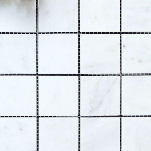 Lusso Carrara Marble Mosaic Tile 2x2 Polished White Gray Indoor Floor Wall Backsplash Tub Shower Vanity QDIsurfaces