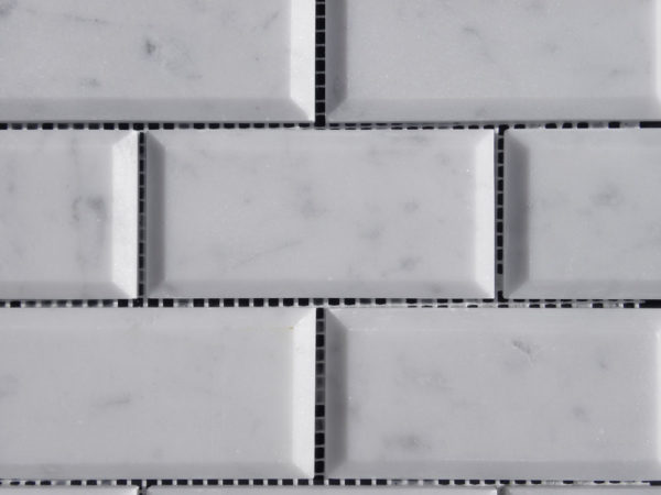 Lusso Carrara Marble Mosaic Tile 2x4 Polished Pillow Edge 3 White Gray Indoor Floor Wall Backsplash Tub Shower Vanity QDIsurfaces