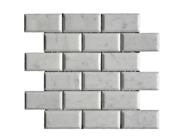 Lusso Carrara Marble Mosaic Tile 2x4 Polished Pillow Edge White Gray Indoor Floor Wall Backsplash Tub Shower Vanity QDIsurfaces