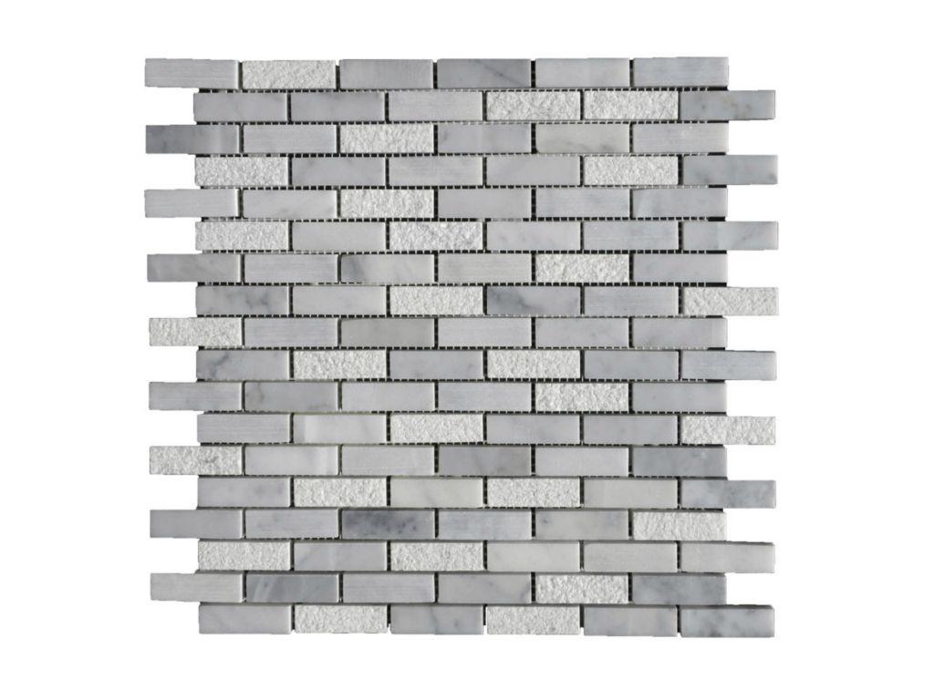 Lusso carrara marble mosaic tile qdi surfaces lusso carrara marble mosaic tile 58x2 honed 3 white gray indoor floor wall backsplash tub shower dailygadgetfo Gallery