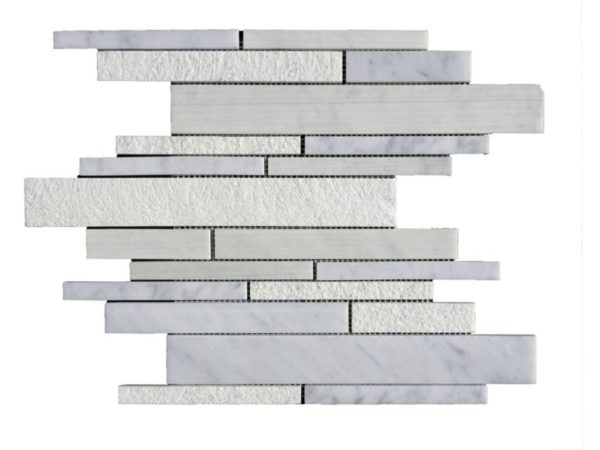 Lusso Carrara Marble Mosaic Tile Deco Strip Honed 5 White Gray Indoor Floor Wall Backsplash Tub Shower Vanity QDIsurfaces