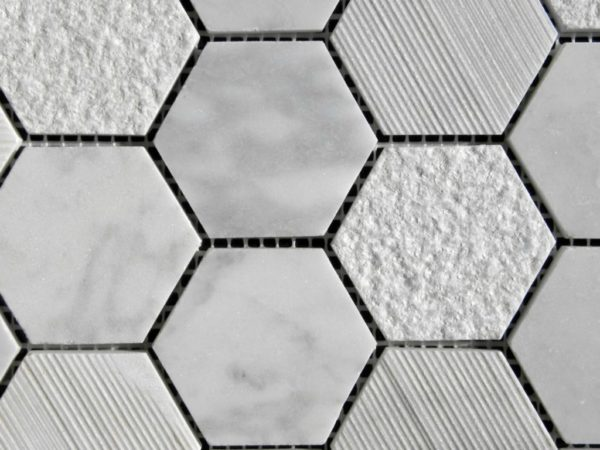 Lusso Carrara Marble Mosaic Tile Hexagon Honed 3 White Gray Indoor Floor Wall Backsplash Tub Shower Vanity QDIsurfaces