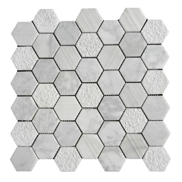 Lusso Carrara Marble Mosaic Tile Hexagon Honed White Gray Indoor Floor Wall Backsplash Tub Shower Vanity QDIsurfaces