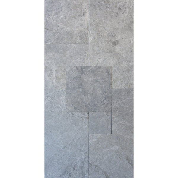 Marine Fantasy Marble Tile Versailles Pattern Brushed Straight Edge Gray White Indoor Floor Wall Backsplash Tub Shower Vanity QDIsurfaces