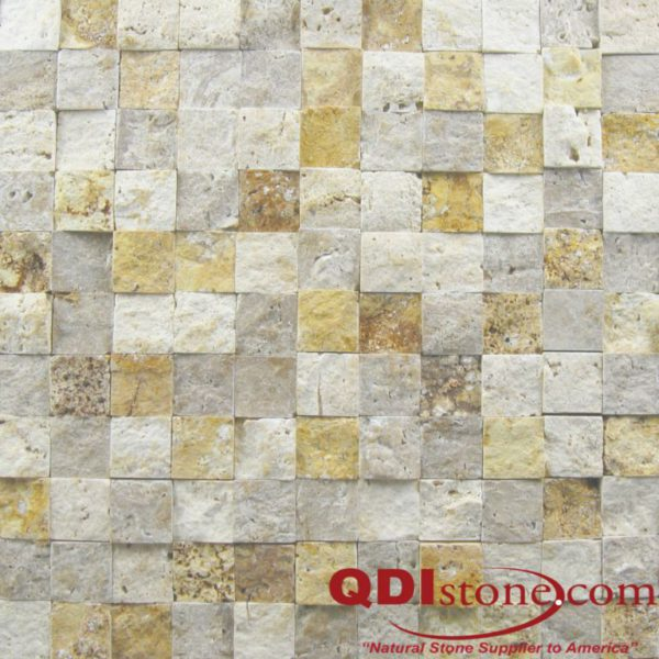 Mix Travertine Mosaic Tile 1x1 Split Face Tan Brown Beige Cream Indoor Floor Wall Backsplash Countertop Tub Shower Vanity QDIsurfaces