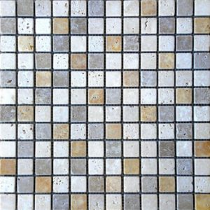 Mix Travertine Mosaic Tile 1x1 Tumbled Tan Brown Beige Cream Indoor Floor Wall Backsplash Countertop Tub Shower Vanity QDIsurfaces