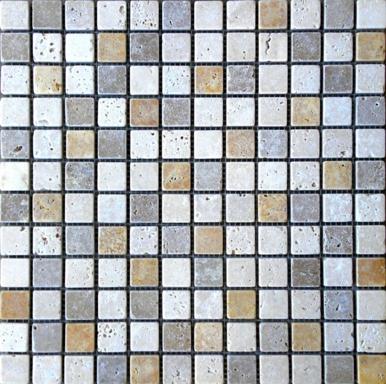 Mix Travertine Mosaic Tile 1x1 Tumbled Tan Brown Beige Cream Indoor Floor Wall Backsplash Countertop Tub Shower Vanity QDIsurfaces