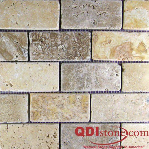 Mix Travertine Mosaic Tile 2x4 Tumbled Tan Brown Beige Cream Indoor Floor Wall Backsplash Countertop Tub Shower Vanity QDIsurfaces