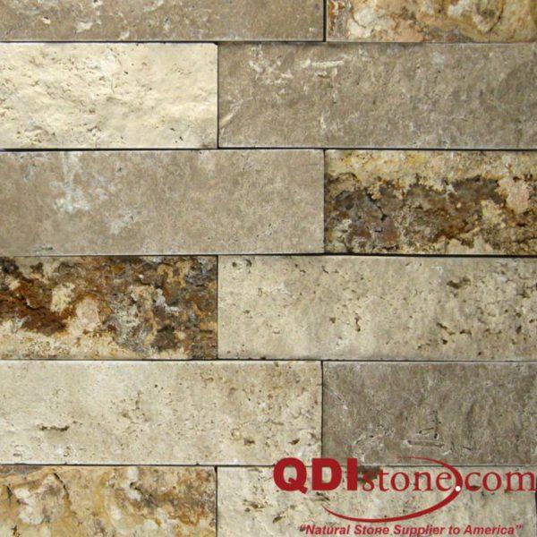 Mix Travertine Mosaic Tile 2x6 Split Face Tan Brown Beige Cream Indoor Floor Wall Backsplash Countertop Tub Shower Vanity QDIsurfaces
