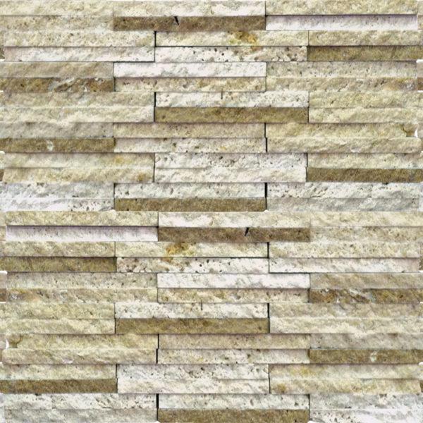 Mix Travertine Mosaic Tile 58x4 Split Face Tan Brown Beige Cream Indoor Floor Wall Backsplash Countertop Tub Shower Vanity QDIsurfaces