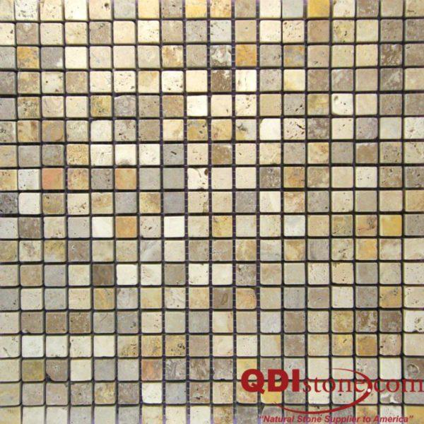 Mix Travertine Mosaic Tile 58x58 Tumbled Tan Brown Beige Cream Indoor Floor Wall Backsplash Countertop Tub Shower Vanity QDIsurfaces