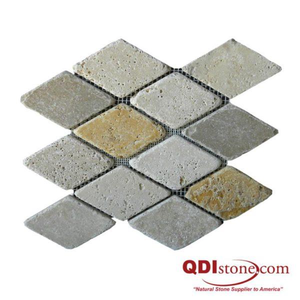 Mix Travertine Mosaic Tile Keramos Diamond Tumbled Tan Brown Beige Cream Indoor Floor Wall Backsplash Countertop Tub Shower Vanity QDI