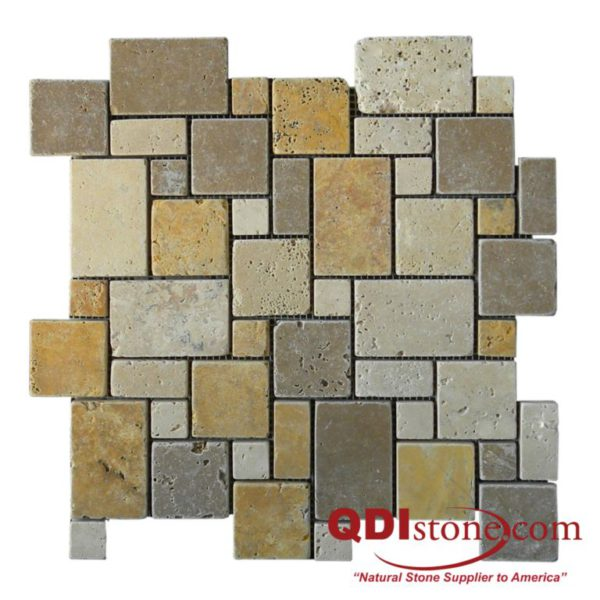 Mix Travertine Mosaic Tile Micro Versailles Pattern Tumbled Tan Brown Beige Cream Indoor Floor Wall Backsplash Countertop Tub Shower Vanity