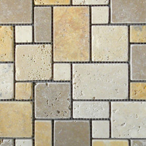 Mix Travertine Mosaic Tile Tan Brown Beige Cream Indoor Floor Wall Backsplash Countertop Tub Shower Vanity QDIsurfaces