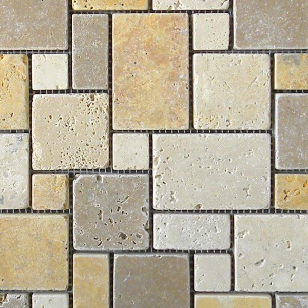 Mix Travertine Mosaic Tile Tan Brown Beige Cream Indoor Floor Wall Backsplash Countertop Tub Shower Vanity QDIsurfaces