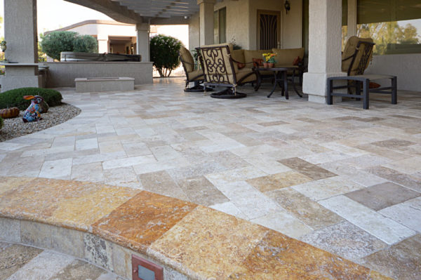 Mix Travertine Paver 6x12 Tumbled 11 Tan Brown Beige Cream Outdoor Floor Wall Pool Patio Backyard Tub Shower Vanity QDIsurfaces