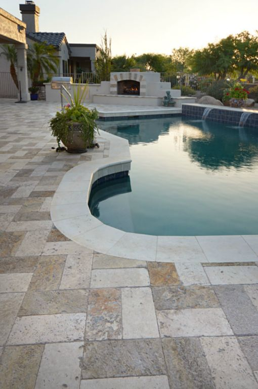 Mix Travertine Paver 6x12 Tumbled 21 Tan Brown Beige Cream Outdoor Floor Wall Pool Patio Backyard Tub Shower Vanity QDIsurfaces