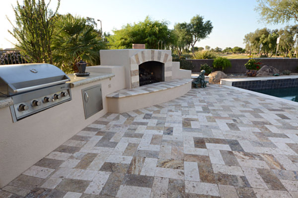 Mix Travertine Paver 6x12 Tumbled 23 Tan Brown Beige Cream Outdoor Floor Wall Pool Patio Backyard Tub Shower Vanity QDIsurfaces