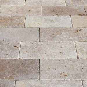 Mix Travertine Paver 6x12 Tumbled 3 Tan Brown Beige Cream Outdoor Floor Wall Pool Patio Backyard Tub Shower Vanity QDIsurfaces