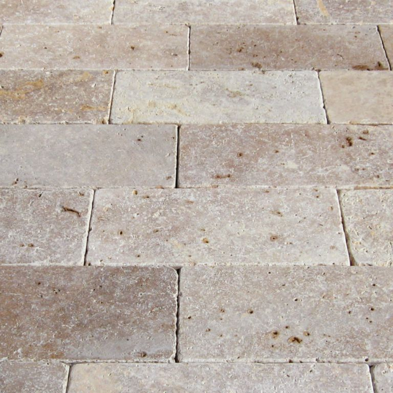Mix Travertine Paver 6x12 Tumbled 3 Tan Brown Beige Cream Outdoor Floor Wall Pool Patio Backyard Tub Shower Vanity QDIsurfaces