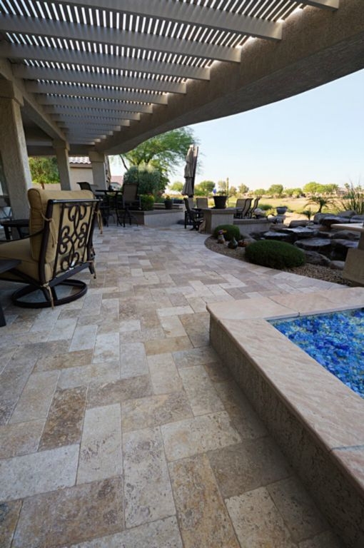Mix Travertine Paver 6x12 Tumbled 5 Tan Brown Beige Cream Outdoor Floor Wall Pool Patio Backyard Tub Shower Vanity QDIsurfaces