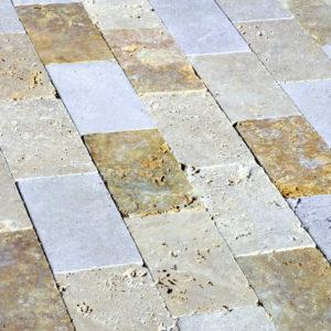 Mix Travertine Paver Tan Brown Beige Cream Outdoor Floor Wall Pool Patio Backyard Tub Shower Vanity QDIsurfaces