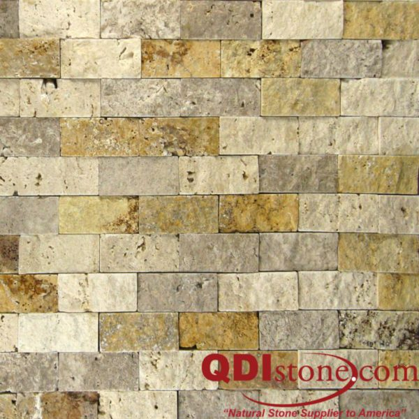 Mix Travertine Split Face Tile 1x2 Split Face Tan Brown Beige Cream Indoor Outdoor Wall Backsplash Tub Shower Vanity QDIsurfaces