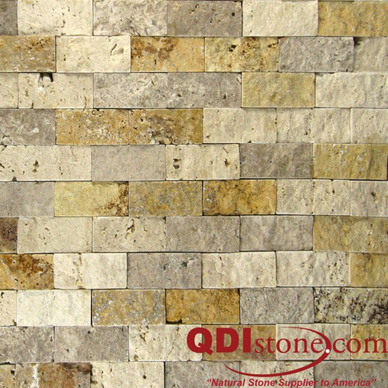 MIX Travertine Split Face Tile QDI Surfaces