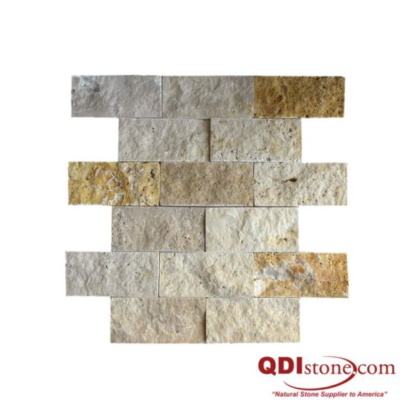 Mix Travertine Split Face Tile 2x4 Split Face Tan Brown Beige Cream Indoor Outdoor Wall Backsplash Tub Shower Vanity QDIsurfaces