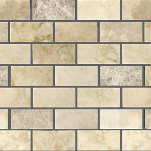 Light Mix 1x2 Marble Polished Mosaic Tile