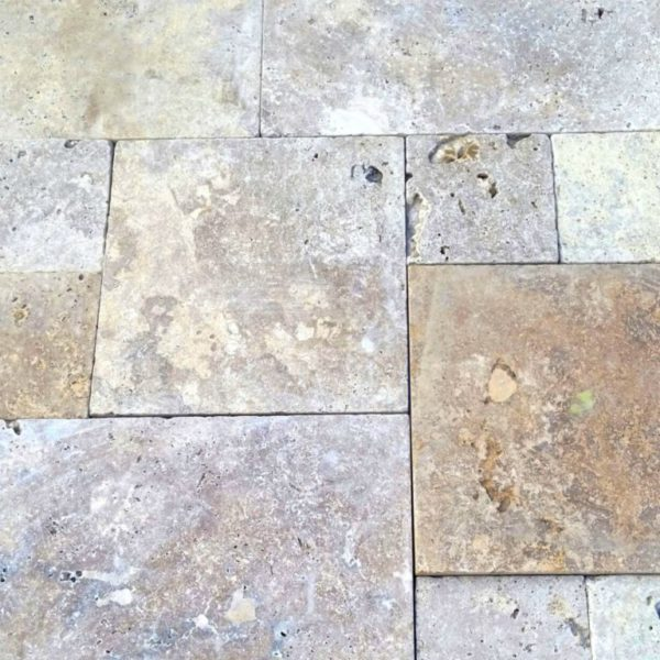 Noce Earth Travertine Paver Versailles Pattern Tumbled 3 Red Pink Beige Cream Outdoor Floor Wall Pool Patio Backyard Tub Shower Vanity QDI