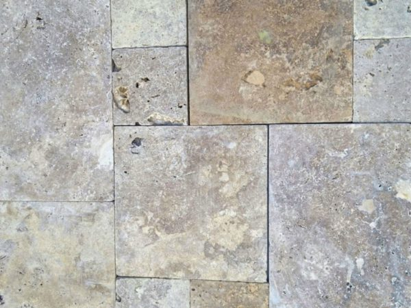 Noce Earth Travertine Paver Versailles Pattern Tumbled 6 Red Pink Beige Cream Outdoor Floor Wall Pool Patio Backyard Tub Shower Vanity QDI