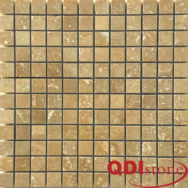 Noce Travertine Mosaic Tile 1x1 Honed Beige Cream Tan Brown Gray White Indoor Floor Wall Backsplash Countertop Tub Shower Vanity QDIsurfaces