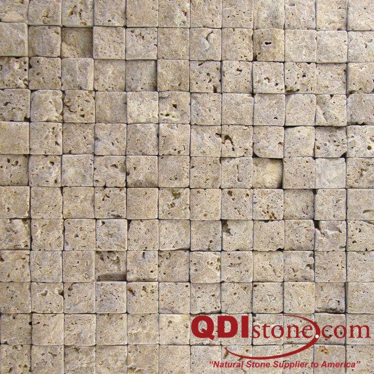 Noce Travertine Mosaic Tile 1x1 Split Face Beige Cream Tan Brown Gray White Indoor Floor Wall Backsplash Countertop Tub Shower Vanity QDI