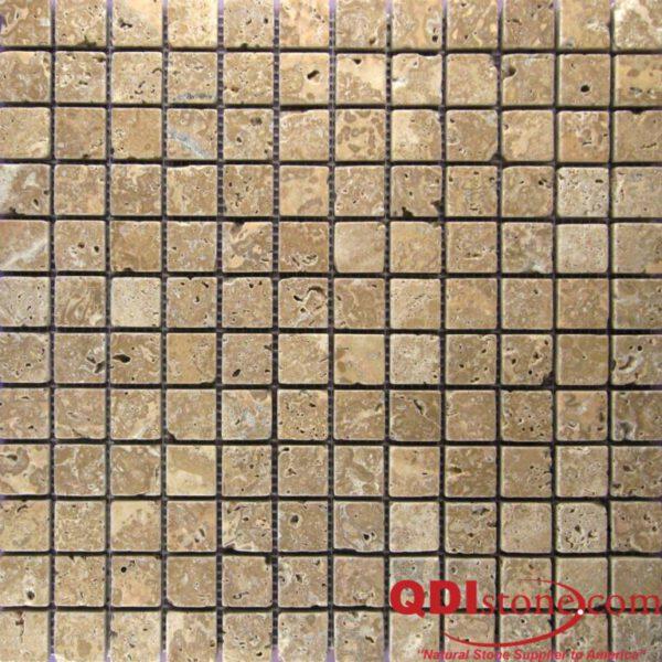 Noce Travertine Mosaic Tile 1x1 Tumbled Beige Cream Tan Brown Gray White Indoor Floor Wall Backsplash Countertop Tub Shower Vanity QDI