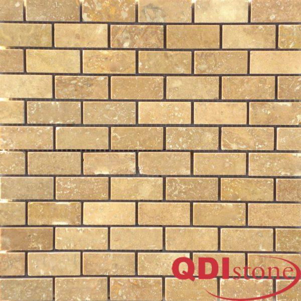 Noce Travertine Mosaic Tile 1x2 Honed Beige Cream Tan Brown Gray White Indoor Floor Wall Backsplash Countertop Tub Shower Vanity QDIsurfaces