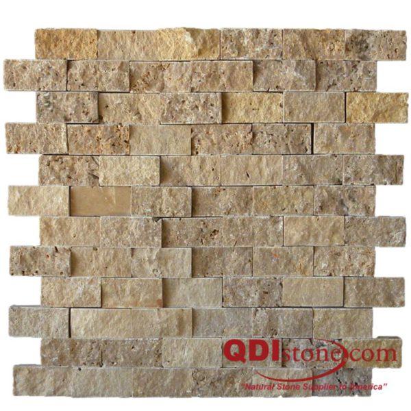 Noce Travertine Mosaic Tile 1x2 Split Face Beige Cream Tan Brown Gray White Indoor Floor Wall Backsplash Countertop Tub Shower Vanity QDI