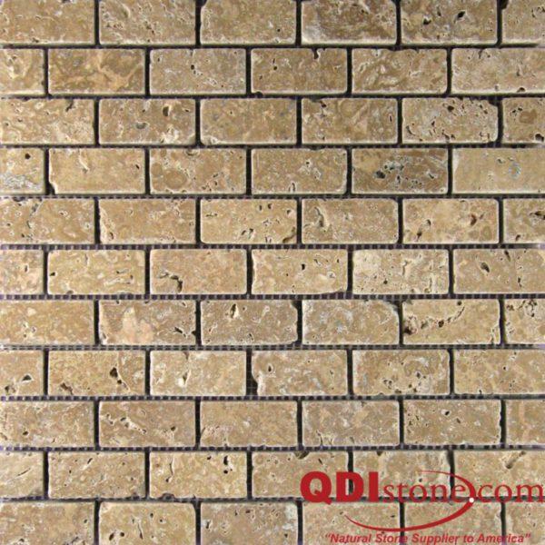 Noce Travertine Mosaic Tile 1x2 Tumbled Beige Cream Tan Brown Gray White Indoor Floor Wall Backsplash Countertop Tub Shower Vanity QDI