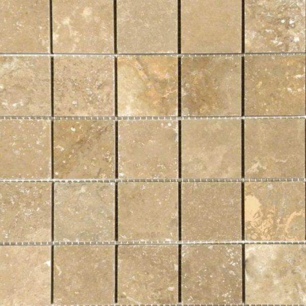 Noce Travertine Mosaic Tile 2x2 Honed Beige Cream Tan Brown Gray White Indoor Floor Wall Backsplash Countertop Tub Shower Vanity QDIsurfaces