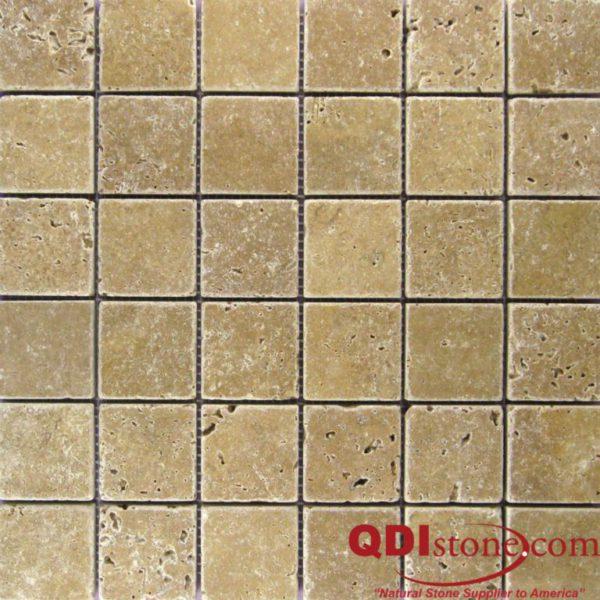 Noce Travertine Mosaic Tile 2x2 Tumbled Beige Cream Tan Brown Gray White Indoor Floor Wall Backsplash Countertop Tub Shower Vanity QDI