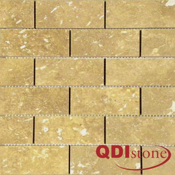 Noce Travertine Mosaic Tile 2x4 Honed Beige Cream Tan Brown Gray White Indoor Floor Wall Backsplash Countertop Tub Shower Vanity QDIsurfaces